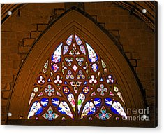 Arched Stained Glass Window Acrylic Print by Cindy Lee Longhini