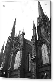 architecture churches . Gothic Spires in Black and White  Acrylic Print by Ann Powell