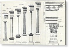 Architecture I Orders Of Architecture Engraved By Charles Lawrie Acrylic Print by  John Burley Waring
