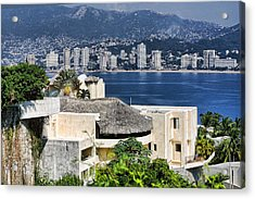 Architecture With Ith Acapulco Skyline Acrylic Print by Linda Phelps