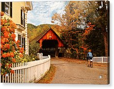 Architecture - Woodstock Vt - Entering Woodstock Acrylic Print by Mike Savad