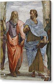 Aristotle And Plato Detail Of School Of Athens Acrylic Print by Raffaello Sanzio of Urbino