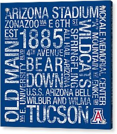 Arizona College Colors Subway Art Acrylic Print by Replay Photos