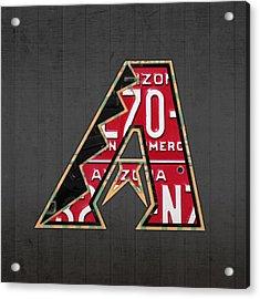 Arizona Diamondbacks Baseball Team Vintage Logo Recycled License Plate Art Acrylic Print by Design Turnpike