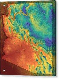 Arizona Map Art Acrylic Print by Paul Hein
