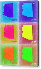 Arizona Pop Art Map 4 Acrylic Print by Naxart Studio