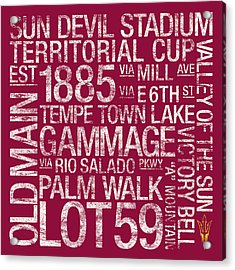 Arizona State College Colors Subway Art Acrylic Print by Replay Photos