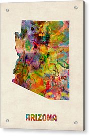 Arizona Watercolor Map Acrylic Print by Michael Tompsett