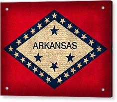 Arkansas State Flag Art On Worn Canvas Acrylic Print by Design Turnpike