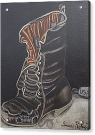 Army Boot Retired  Acrylic Print by Susan Roberts