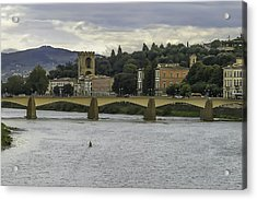 Arno River And Architecture In Florence Acrylic Print by Karen Stephenson