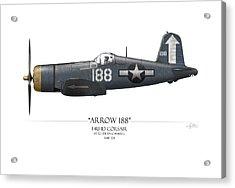 Arrow 188 F4u Corsair - White Background Acrylic Print by Craig Tinder