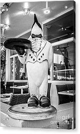 Art Deco Penguin Waiter South Beach Miami - Black And White Acrylic Print by Ian Monk