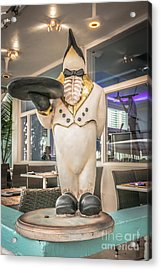Art Deco Penguin Waiter South Beach Miami - Hdr Style Acrylic Print by Ian Monk