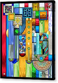 Art Deco Stained Glass 1 Acrylic Print by Ellen Henneke