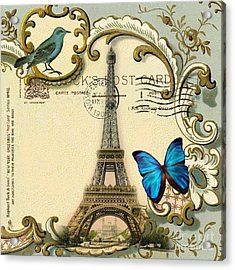 Art Deco Swirls Butterfly Eiffel Tower Paris Acrylic Print by Cranberry Sky