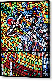 Art Nouveau Stained Glass Windows Ss Vitus Cathedral Prague Acrylic Print by Christine Till