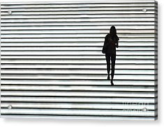 Art Silhouette Of Girl Walking Down Acrylic Print by Lars Ruecker
