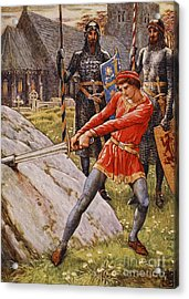 Arthur Draws The Sword From The Stone Acrylic Print by Walter Crane