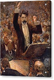 Arthur Nikisch Conducting A Concert At The Gewandhaus In Leipzig Acrylic Print by Robert Sterl