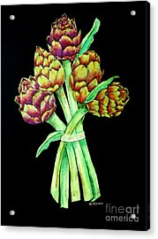 Artichokes Acrylic Print by Mona Younavjak Hansen