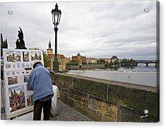 Artist On The Charles Bridge - Prague Acrylic Print by Madeline Ellis