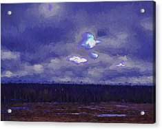 Artistic Paintiry Something In The Sky Landscape With A Coverd Sky An Early Morning Acrylic Print by Leif Sohlman