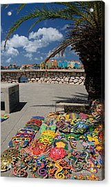 Artwork At Street Market In Curacao Acrylic Print by Amy Cicconi