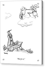 As Abraham Raises The Dagger Over His Son Acrylic Print by Benjamin Schwartz