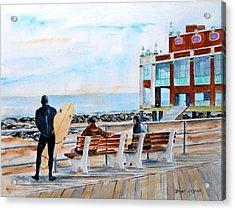 Asbury Park Surfers Acrylic Print by Brian Degnon