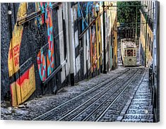 Ascensor Do Lavra Lisbon Acrylic Print by Carol Japp