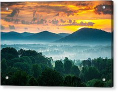 Asheville Nc Blue Ridge Mountains Sunset - Welcome To Asheville Acrylic Print by Dave Allen