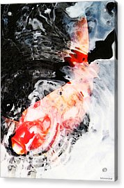 Asian Koi Fish - Black White And Red Acrylic Print by Sharon Cummings