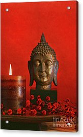 Asian Theme With Candle  Acrylic Print by Sandra Cunningham