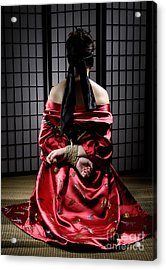 Asian Woman With Her Hands Tied Behind Her Back Acrylic Print by Oleksiy Maksymenko