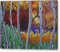 Aspens And Wine Acrylic Print by Tammy Sutherland