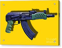 Assault Rifle Pop Art - 20130120 - V2 Acrylic Print by Wingsdomain Art and Photography