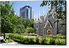 Assembly Hall In A City, Salt Lake Acrylic Print by Panoramic Images
