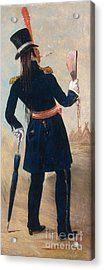 Assiniboine Warrior In Regimental Acrylic Print by Photo Researchers