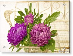 Asters In Tray - Digital Art Oil Painting Acrylic Print by Sandra Foster