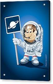Astronaut Cartoon Man Acrylic Print by Frank Ramspott