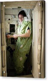 Astronaut Samantha Cristoforetti On Iss Acrylic Print by Nasa
