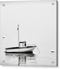 At Anchor Bar Harbor Maine Black And White Square Acrylic Print by Carol Leigh