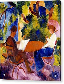 At The Garden Table Acrylic Print by August Macke