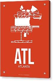 Atl Atlanta Airport Poster 3 Acrylic Print by Naxart Studio