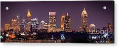 Atlanta Skyline At Night Downtown Midtown Color Panorama Acrylic Print by Jon Holiday