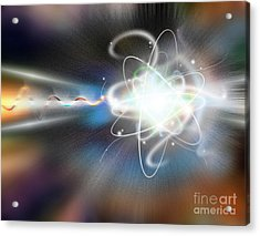 Atom Collision Acrylic Print by Mike Agliolo