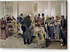 Auction Of Serfs Acrylic Print by Klavdiy Vasilievich Lebedev