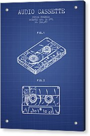 Audio Cassette Patent From 1991 - Blueprint Acrylic Print by Aged Pixel