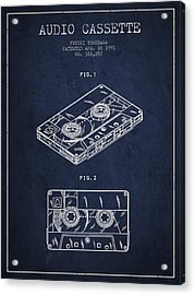 Audio Cassette Patent From 1991 - Navy Blue Acrylic Print by Aged Pixel